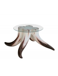 Stierhorntisch Rund mit Glasplatte Kaffeetisch Klein