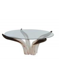Umgedrehter Stierhorntisch Rund mit Glasplatte Kaffeetisch Groß
