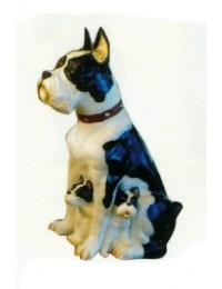 Pitbullterrier Kampfhund sitzend mit Welpen
