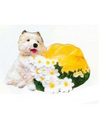 West Highland Terrier mit Blumenkörbchen