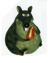 fette Maus mit Käsestück
