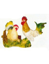 SET Huhn mit Hahn auf Wiese