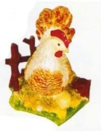 weiß braune Henne auf Wiese
