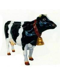 weiß schwarz gefleckte Kuh mit Glocke mittel