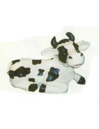 lustige Kuh liegend
