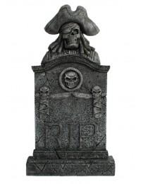Piratenskelett Grabstein mit Totenköpfen RIP