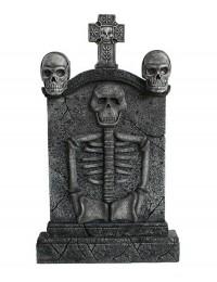 Totenkopf und Kreuz Grabstein mit Skelett