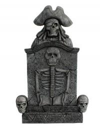 Piratenskelett und Totenköpfe Grabstein mit Skelett