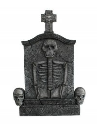 Kreuz Grabstein mit Skelett und Totenköpfen
