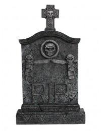 Kreuz Grabstein mit Totenköpfen RIP