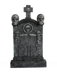Totenkopf und Kreuz Grabstein mit Totenköpfen RIP (Variante 2)