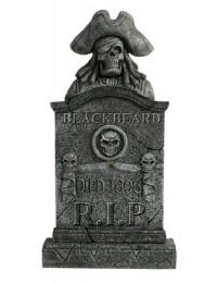 Piratenskelett Grabstein Blackbeard mit Totenköpfen