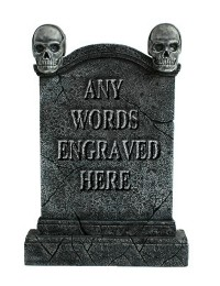 Totenkopf Grabstein mit Wunschbeschriftung
