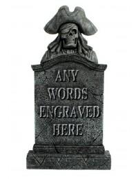Piratenskelett Grabstein mit Wunschbeschriftung