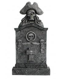 Piratenskelett Grabstein mit Totenköpfen und Kreuz