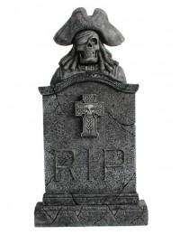Piratenskelett Grabstein mit Kreuz