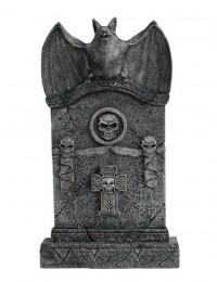Fledermaus Grabstein mit Totenköpfen und Kreuz
