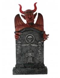 Teufel Grabstein mit Totenköpfen und Kreuz