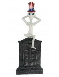 Alien mit amerikanischem Hut Grabstein mit Skelett