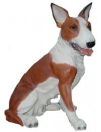 Kampfhund Bullterrier sitzend