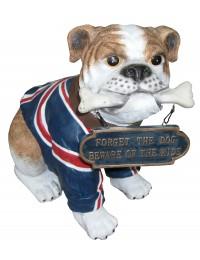 Hund ,englische Bulldogge mit Schild