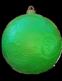 Weihnachtskugel mit  Reliefmuster metallicgrün