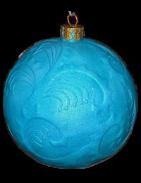 Weihnachtskugel mit  Reliefmuster metallichellblau