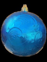 Weihnachtskugel mit  Reliefmuster metallicblau