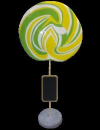 Lutscher grün-gelb mit Tafel