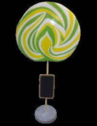 Lutscher gelb-grün mit Tafel