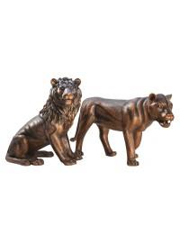 Löwe sitzend Löwin stehend Bronze