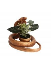 Goldene Kobra Schlange mit Blumentopfhalterung