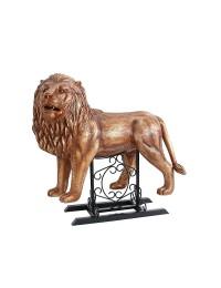 Goldener Löwe stehend auf Metallständer