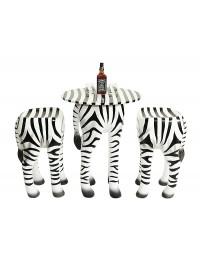 Tisch mit 2 Hockern Zebra