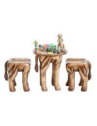 Tisch mit 2 Hockern Löwe Gold für Kinder