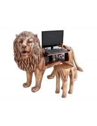 Goldener Löwe Computertisch mit Hocker