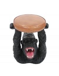 Gorilla Hocker mit braunem Polster
