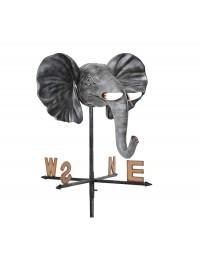 Elefantenkopf mit Stoßzähnen Windrichtungsanzeiger