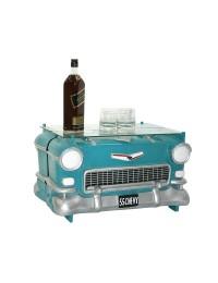 Tisch Chevy Türkis mit Glasplatte