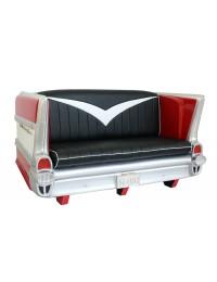 Sofa Chevy Rot mit schwarzem Polster