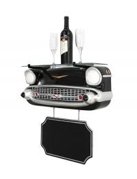 Wandregal Chevy Schwarz mit Glasplatte und Angebotsschild