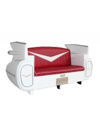Sofa Cadillac Weiß mit rotem Polster und Kofferraumschrank