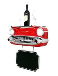 Wandregal Chevy Rot mit Glasplatte und Angebotsschild