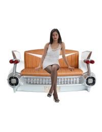 Sofa Cadillac Weiß mit braunem Polster