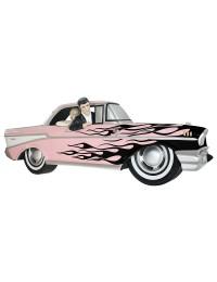 Wanddeko Chevy Rosa mit schwarzen Flammen und Elvis