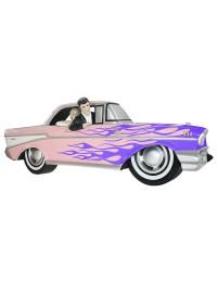 Wanddeko Chevy Rosa mit lila Flammen und Elvis