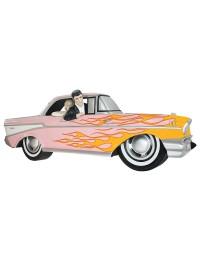 Wanddeko Chevy Rosa mit gelben Flammen und Elvis