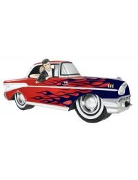 Wanddeko Chevy Rot mit blauen Flammen und Elvis