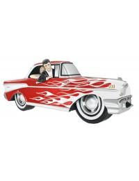 Wanddeko Chevy Rot mit weißen Flammen und Elvis