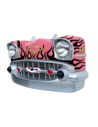 Wanddeko Chevy Rosa Front mit schwarzen Flammen